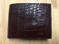 Genuine Real Alligator Crocodile Leather Men's Bifold Wallet - Reddish Brown