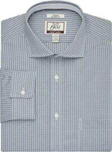 Jos. A. Bank Non Iron Tailored Fit Dress Shirt 17 - 36 Brrr Comfort Green Blue