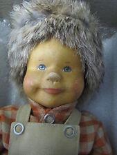 "Germany Krahmer Wooden Head Boy Doll in Box - 14"" tall"