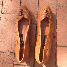 Womens Vintage Corsina Shoes Sandals Sz 9/10 Woven Leather Flats/Mini Wedge