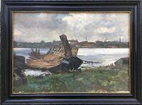 Ölgemälde Impressionist Karl Hennemann Bootswerft Friedrich Kallmorgen Schüler