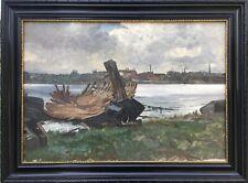 Peinture à L'Huile Impressionniste Karl Hennemann Bootswerft Friedrich
