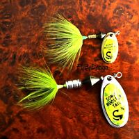NEW Chartreuse Mylar Sonic Rooster Tail - Choice of Hook/Size-Weight & Quantity