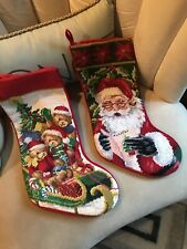 Needlepoint By Hand Lot Of 2 Christmas Stocking