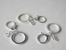 3 x 30mm SILVER PLATED Split Ring with 35.5mm Lobster Clasp Key/Bag Charm