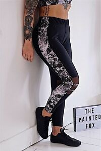 Hardcore leggings black with marble black white and mesh panel gym  activewear