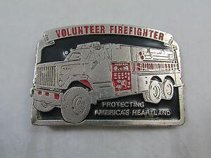 Vintage Metal Silver Tone Volunteer Firefighter Cowboy Cowgirl Belt Buckle