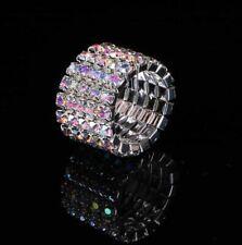 Crystal Aurora Borealis Rhinestone 5 Row Stretch Ring Silver Bridal AB Jewelry