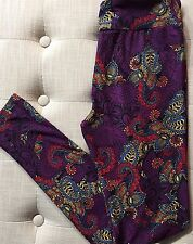 NWT LuLaRoe OS Paisley Leggings Purple Scroll One Size Plum Blue Red Black
