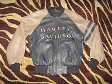 *Pa PoW* mens HARLEY DAVIDSON LeAtHeR varsity BoMbEr jacket BLUE tWo-tOnE LINER