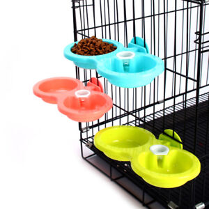 Plastic Double Using Pet Feeder Dog Feeding & Drinking Bowl With Water Dispenser
