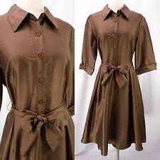 Bigio Collection 100% Silk Milk Chocolate Brown Shirtwaist Full Skirt Dress 10 M