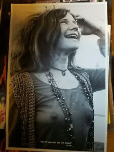 JANIS JOPLIN 1971 GET OFF YOUR BUTT AND FEEL THINGS VINTAGE NOS POSTER -NICE!