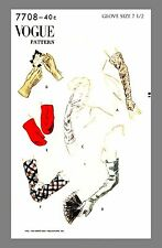 Vintage Vogue Gloves Mitten Mitt Fabric material sewing pattern #7708