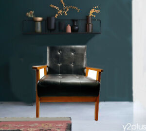 Leather Arm Chair Classic Vintage Black Solid Wood Seat Headrest Cushions