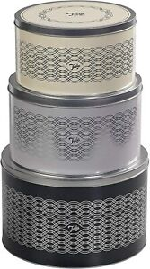 Round Cake Storage Tins Carriers Caddies Sweet Biscuit Barrel Muffin Box Caniste