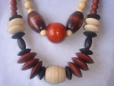 TWO VINTAGE RETRO GRADUATED BROWNS, CHERRY & CREAM NATURAL WOOD BEADED NECKLACES