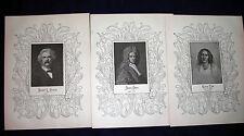 Mark Twain-Samuel Clemens - George Eliot - Daniel Defoe - 1898 Portrait Prints