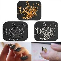 GN- 200Pcs Metal Punk Cone Spikes 3D Nail Art Decoration Rivet DIY Accessories B