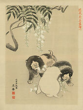 Japanese Print Reproductions: 3 Puppies playing with blossoms - Fine Art Print