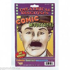 CHARLIE CHAPLIN COMIC MOUSTACHE Hitler Black Facial Hair Costume Funny Clown NEW