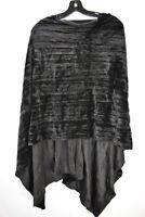 Renata Raps Women's Pullover Velvet Poncho Sweater Black, OS Fits All, $140, NwT