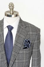 Men's CORNELIANI Leader Gray Plaid Wool Cashmere 2Btn Coat Jacket 52 7R 42 R NWT