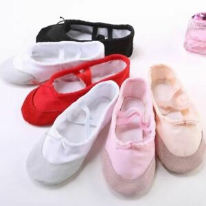 Girls Canvas Cotton Dance Paw Pig Leather Soft Split Sole Ballet Shoes Slippers