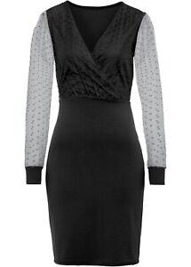 Kleid mit Organza-Ärmeln Gr. 40/42 Schwarz Cocktailkleid Kurzes Partykleid Neu*
