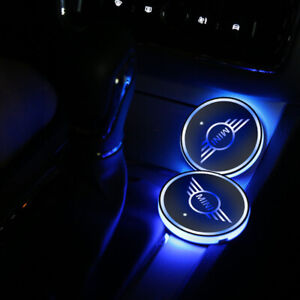 Mini Lights Car Logo LED Coaster Cup Holder 2PCS led Pad 7 Colour Changing