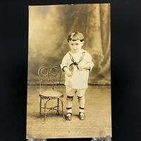 C.1910-20 VTG RPPC Postcard Sweet Toddler Boy With Bent Wire Chair Sailor Suit