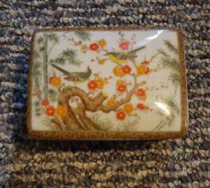 Japanese rectangular porcelain trinket box bird flowers