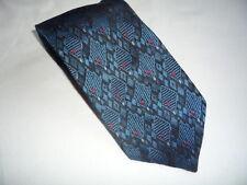 KR1294 Enrico Mori Krawatte 100% Seide Blautöne Schwarz Rot Karos 155cm Sehr gut