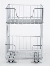 Steel Wire Cabinet Pull Out Tier Drawer Kitchen Basket Rack Shelf Organizer New