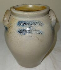 Antique Unusual Small Size Stoneware Jar by Goodwin & Webster, Hartford, Conn.