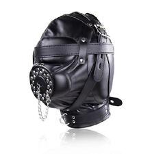 EW Open Mouth Gag Leather Gimp Mask Padded Blindfold Full Hood Lockable Costume