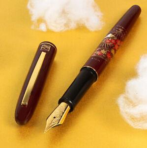 "Kuretake Maroon Red Urushi Makie ""SENMEN"" Gold Iridium M Nib Fountain Pen"