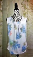 Calvin Klein womens sleeveless stretch knit floral print top size xl keyhole b21