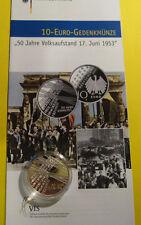 BRD Deutschland 2003 10 Euro SilberGedenkmünze PP Volksaufstand 17. Juni 1953