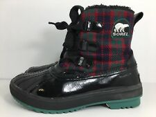 Sorel Tivoli Plaid Boots NL1776-321 Women's Size 7.5 Waterproof Patent Leather