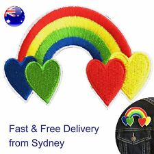 Rainbow hearts iron on patch - rain bow love heart prism arc embroidery patches