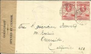 Gold Coast SG#122(x2) WINNEBA 22/APR/41 WWII CENSOR to USA