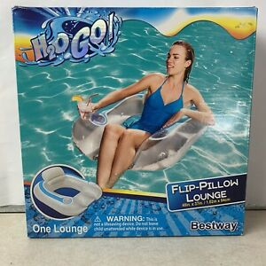 H2O GO! Inflatable Pool Flip-Pillow Lounge Chair Flip Cup Holder Summer Fun