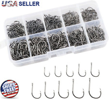 500pcs Fish Hooks 10 Sizes Fishing Black Silver Sharpened With Box Quality kit