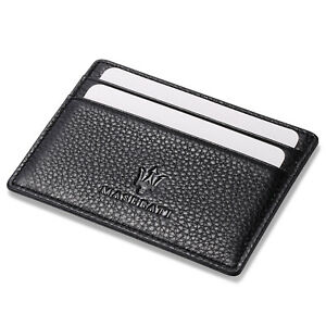 Maserati Slim Card Holder Genuine Leather Thin Credit ID Case Men Mini Wallet