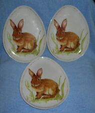p6.Easter Bunny Rabbit Plates Egg Shaped Dessert Salad Melamine Set of Three