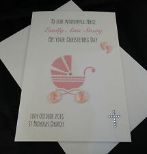 Personalised & HandMade Christening Baptism Card, Baby Pram Pink/ Bue, Boy/Girl