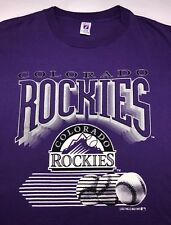 Vintage Mens XL 1993 Colorado Rockies MLB Baseball Graphic Logo 7 Purple T-Shirt