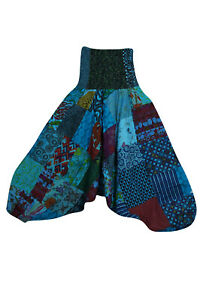 Boho Hippy Gypsy Patchwork Harem Pant Trousers Baggy Cotton Comfy Pajama S/M