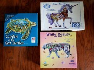 Lot of 3 Animal SHAPED puzzles Tiger, Unicorn, Sea Turtle 800-1000 pc.